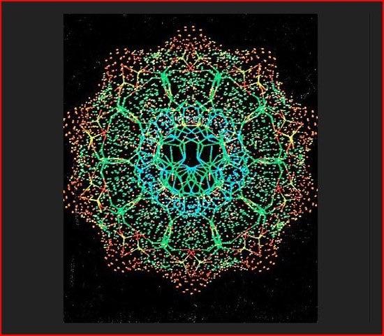 DNA Querschnitt in einer Zehnersymmetrie.